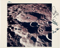 "Explorers:Space Exploration, Apollo 11 Crew-Signed Vintage NASA ""Blue Number"" Lunar Crater Dædalus Color Photo. ..."