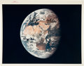 "Explorers:Space Exploration, Apollo 11 Crew-Signed Vintage NASA ""Red Number"" Earth During Trans-Lunar Coast Color Photo...."