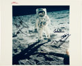 "Explorers:Space Exploration, Apollo 11 Crew-Signed Vintage NASA ""Red Number"" ""Visor"" Color Photo. ..."