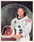 Explorers:Space Exploration, Neil Armstrong Signed and Inscribed White Spacesuit Color Photo....