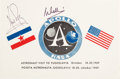 Explorers:Space Exploration, Giant Leap World Tour- 10/18-20 (Yugoslavia): Neil Armstrong and Michael Collins Signed Country Flags Card. ...