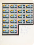 "Explorers:Space Exploration, Neil Armstrong Signature on Stamp Album Page with Attached Partial Sheet of ""First Man On The Moon"" Stamps. ..."