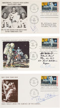"""Explorers:Space Exploration, Apollo 11 """"First Man On The Moon"""" Stamp: Crew Individually-Signed First Day Covers. ..."""