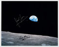 "Explorers:Space Exploration, Apollo 8: Frank Borman and James Lovell Signed ""Earthrise"" Color Photo...."