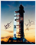 Explorers:Space Exploration, Apollo 8: Frank Borman and James Lovell Signed Launchpad Color Photo. ...