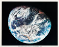 "Explorers:Space Exploration, Apollo 8: Frank Borman and James Lovell Signed ""Earth From Apollo 8"" Color Photo. ..."