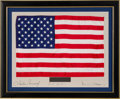 Explorers:Space Exploration, Apollo 12 Flown Largest-Size American Flag on a Crew-Signed Presentation Mat in a Framed Display, Originally from the Personal...