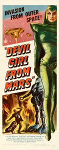 """Movie Posters:Science Fiction, Devil Girl from Mars (Spartan, 1955). Fine+ on Paper. Insert (14"""" X 36"""").. ..."""