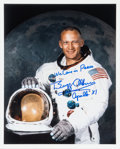 Explorers:Space Exploration, Buzz Aldrin Signed Apollo 11 White Spacesuit Color Photo with Added Comment....