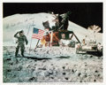 Explorers:Space Exploration, Jim Irwin Signed Apollo 15 Lunar Surface Flag Salute Color Photo, with Completely Handwritten Sentiment....