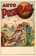 "Movie Posters:Sports, Auto Pushball (1910s). Very Fine- on Linen. Poster (28"" X 42.75"").. ..."