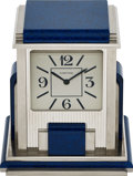 Timepieces:Clocks, Cartier, Prism Mystery Clock, Silver Plated And Blue Jasper, Circa 1990's. ...