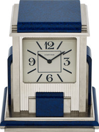 Cartier, Prism Mystery Clock, Silver Plated And Blue Jasper, circa 1990's