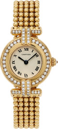"Timepieces:Wristwatch, Cartier, Colisee Ref. 1980 ""Double Row Diamond"", 18k Gold and Diamonds, Circa 1980's. ..."