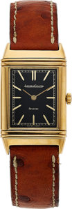 Timepieces:Wristwatch, Jaeger-LeCoultre, 18k Gold Reverso, Ref. 6184.21, Manual Wind, Circa 1980's. ...