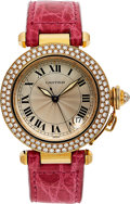 Timepieces:Wristwatch, Cartier, Pasha Ref 1035, 18k Gold and Diamond, Automatic, Circa 2000. ...