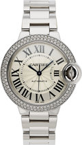 Timepieces:Wristwatch, Cartier, Ballon Bleu 33 mm, Fine Diamond & White Gold, Ref. 3491, Circa 2000. ...