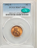 Lincoln Cents: , 1952-S 1C MS67+ Red PCGS. CAC. PCGS Population: (221/0 and 31/0+). NGC Census: (435/0 and 7/0+). CDN: $115 Whsle. Bid for p...