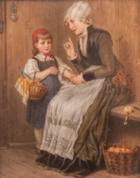 A German Painted Porcelain Plaque Depicting a Mother and Child, Late 19th century 7-1/2 x 6 inches (19.1 x 15.2 cm