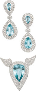 Estate Jewelry:Suites, Aquamarine, Diamond, White Gold Jewelry Suite. ...