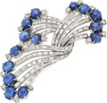 Estate Jewelry:Brooches - Pins, Sapphire, Diamond, White Gold Brooch, Casa Castro. ...