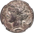Ancients: SICILY. Syracuse. Time of Dionysius I (405-367 BC). AR decadrachm (34mm, 41.47 gm, 7h). NGC Choice XF 5/5 - 2/...