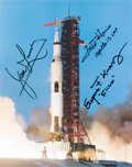 Explorers:Space Exploration, Apollo 13: Launch Color Photo Signed by Lovell, Haise, and Kranz. ...