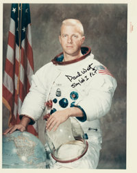 """Paul Weitz Signed Original NASA """"Red Number"""" White Spacesuit Color Photo"""