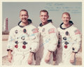 "Explorers:Space Exploration, Apollo 9 Crew-Signed White Spacesuit Vintage NASA Color Photo Originally from the Personal Collection of Walter ""Kappy"" Kaprya..."