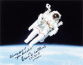 Explorers:Space Exploration, Bruce McCandless Signed STS-41-B Untethered Spacewalk Color Photo. ...