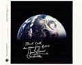 Explorers:Space Exploration, James Lovell Signed Apollo 13 NASA Color Photo of Earth. ...