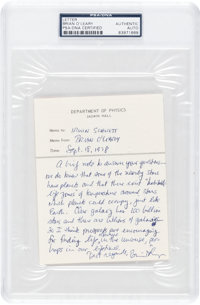 Brian O'Leary 1978-Dated Autograph Note Signed Regarding Life on Other Planets, PSA/DNA Authenticated and Encapsulated...