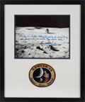 Explorers:Space Exploration, Edgar Mitchell Signed, with Long Annotation, Apollo 14 Lunar Surface Photo Matted and Framed with an Embroidered Mission Insig...