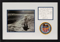 Explorers:Space Exploration, Charlie Duke Autograph Note Signed Matted and Framed with Apollo 16 Lunar Surface Color Photo and Embroidered Mission Insignia...