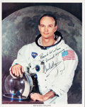 Explorers:Space Exploration, Michael Collins Signed and Inscribed White Spacesuit Color Photo. ...