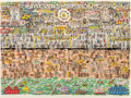 Prints & Multiples, James Rizzi (1950-2011). Coney Island, 1983. 3-D intaglio construction pop-out in colors on paper. 13-3/4 x 19-1/4 inche...