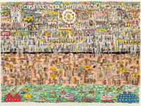 James Rizzi (1950-2011) Coney Island, 1983 3-D intaglio construction pop-out in colors on paper 1