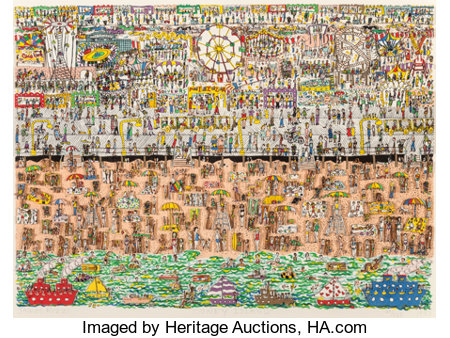 James Rizzi (1950-2011) Coney Island, 1983 3-D intaglio construction pop-out in colors on paper 13-3/4 x 19-1/4 inche...