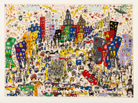 James Rizzi (1950-2011) East Side, West Side, Uptown, and Down, 1978 Screenprint in colors on paper<