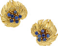Estate Jewelry:Earrings, Sapphire, Gold Earrings, Van Cleef & Arpels, French. ...