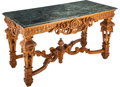 Furniture, A Louis XIV-Style Carved Walnut Console Table, circa 1900. 33 x 60 x 28 inches (83.8 x 152.4 x 71.1 cm). ...