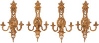 A Set of Four French Gilt Bronze Sconces, 19th century 29 x 14 x 10 inches (73.7 x 35.6 x 25.4 cm)