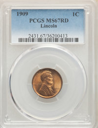 1909 1C MS67 Red PCGS. PCGS Population: (83/0). NGC Census: (6/0). CDN: $1,400 Whsle. Bid for NGC/PCGS MS67. Mintage 72...