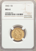 Liberty Half Eagles: , 1843 $5 MS61 NGC. NGC Census: (38/34). PCGS Population: (22/30). CDN: $2,000 Whsle. Bid for NGC/PCGS MS61. Mintage 611,205....