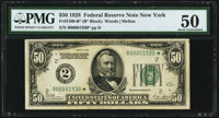 Low Serial Number 1930 Fr. 2100-B* $50 1928 Federal Reserve Note. PMG About Uncirculated 50