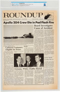 Explorers:Space Exploration, Apollo 1: NASA Houston Manned Spacecraft Center Roundup Newspaper, February 3, 1967, with a Front Page Article Reg...