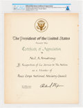 Explorers:Space Exploration, President Richard Nixon: Official White House Certificate of Appreciation, Directly From The Armstrong Family Collection™, CAG...