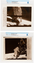 Explorers:Space Exploration, Apollo 11 Moonwalkers: AP Original Wirephotos of Each First Step on the Moon Directly From The Armstrong Family Collection... (Total: 2 Items)