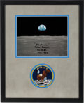 """Explorers:Space Exploration, Michael Collins Signed Apollo 11 """"Earthrise"""" Color Photo Matted and Framed with an Embroidered Mission Insignia Patch. ..."""