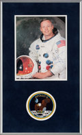 Explorers:Space Exploration, Neil Armstrong Signed, Uninscribed White Spacesuit Color Photo Matted and Framed with an Embroidered Apollo 11 Mission Insigni...